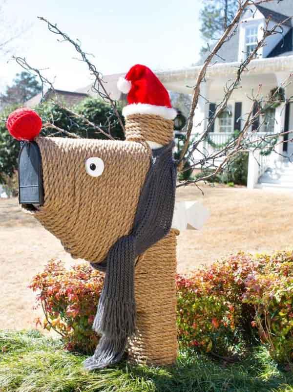 best christmas porch decoration ideas christmas decor mail box reindeer ropes momooze.com online magazine for modern moms