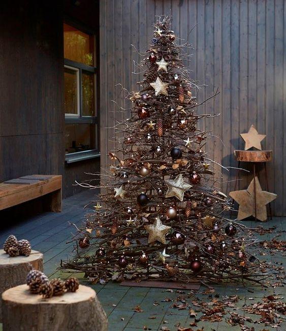 best christmas porch decoration ideas fake DIY branches christmas tree momooze.com online magazine for modern moms