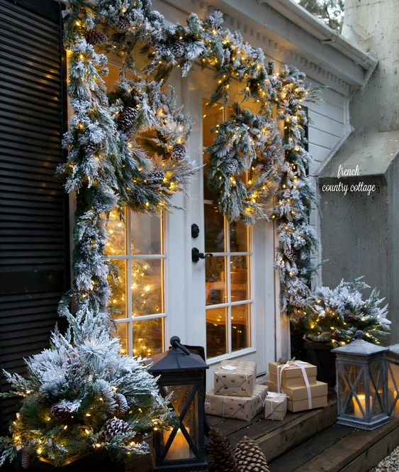 best christmas porch decoration ideas fake snow momooze.com online magazine for modern moms