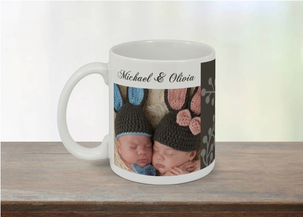 birth announcement mug twins purpletrail.com momooze.com online magazine for modern mom