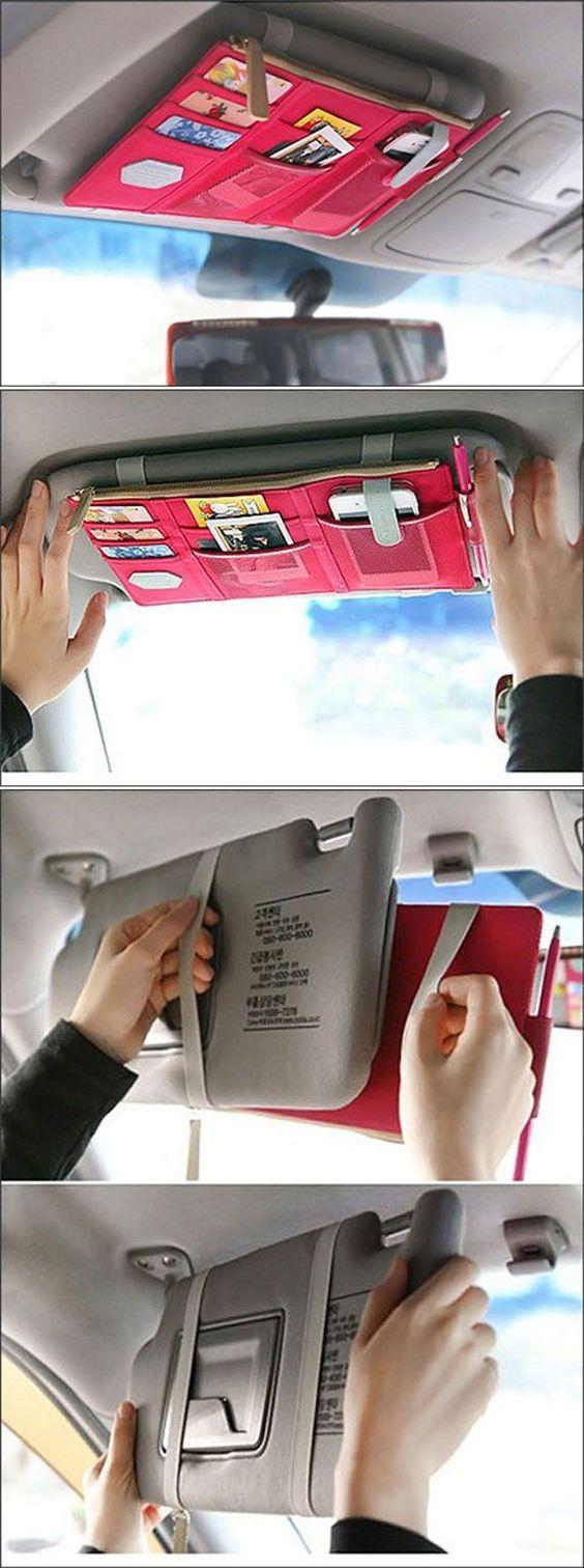 car hacks sun visor Multi Pocket Hang Organizer momooze.com online magazine for moms