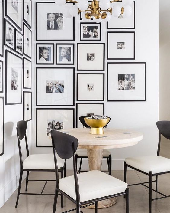 organize photos on a wall