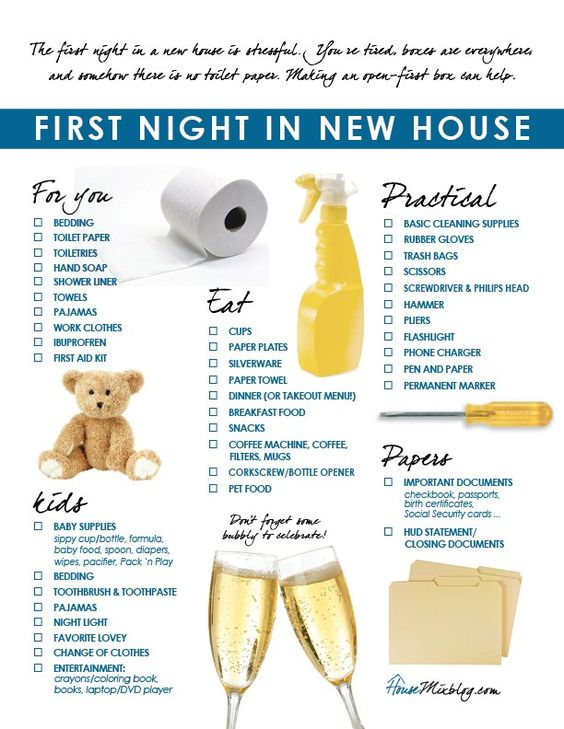 checklist for first night in a new home
