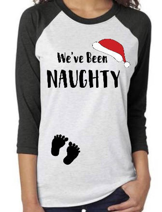 christmas pregnancy tops cute we have been naughty momooze.com online magazine for modern moms