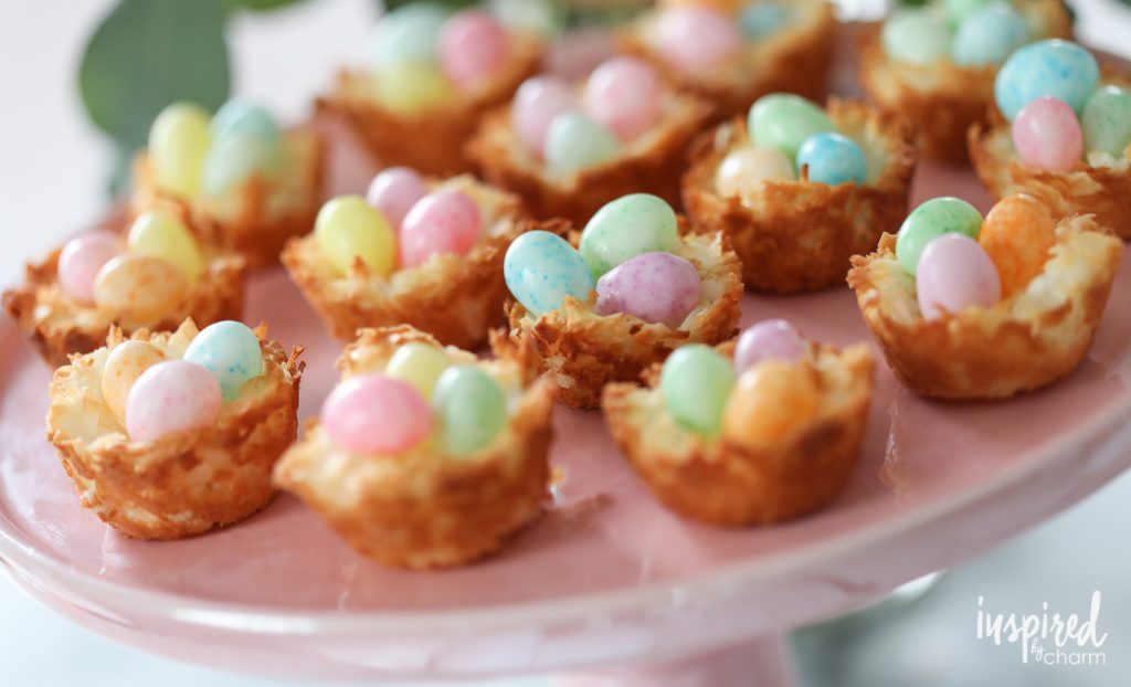delicious Easter brunch recipes colorful coconut macaroon nests recipe momooze.com online magazine for moms