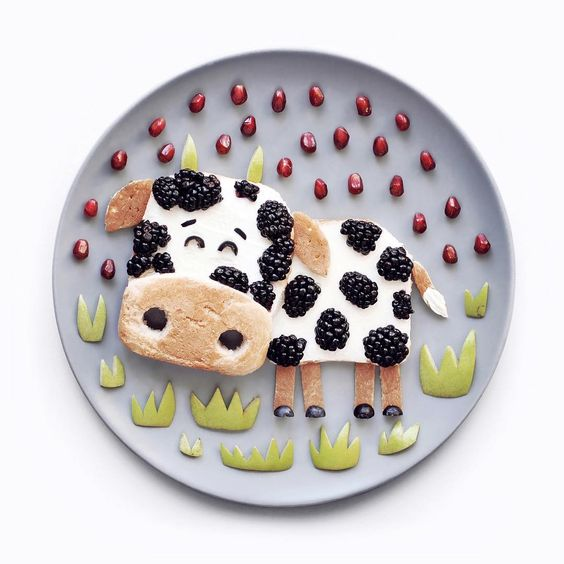 getting creative with fruits and vegetables blackberry cow plate momooze.com picturesque playground for moms