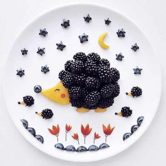 getting creative with fruits and vegetables blueberry hedgehog momooze.com picturesque playground for moms
