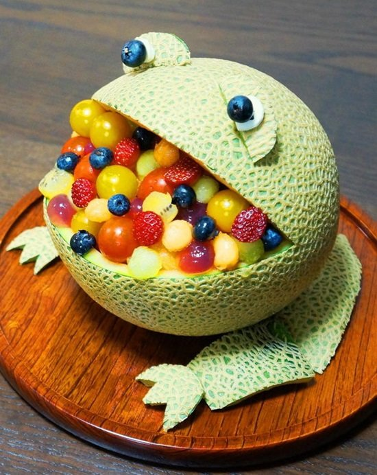 getting creative with fruits and vegetables frog melon bowl momooze.com picturesque playground for moms