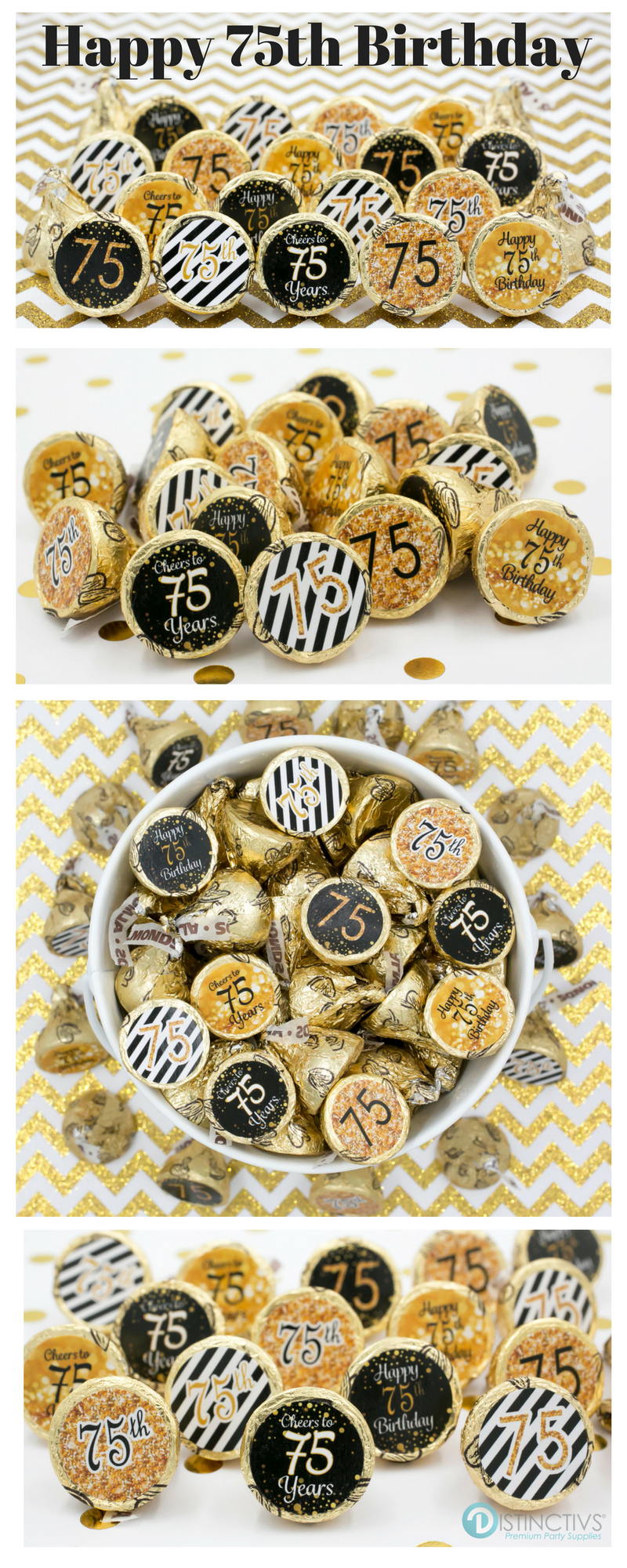 Source Gold Glitter Black Theme For 75th Birthday