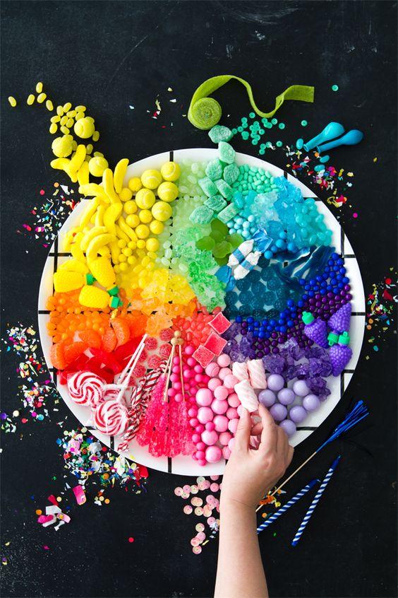 rainbow candy platter