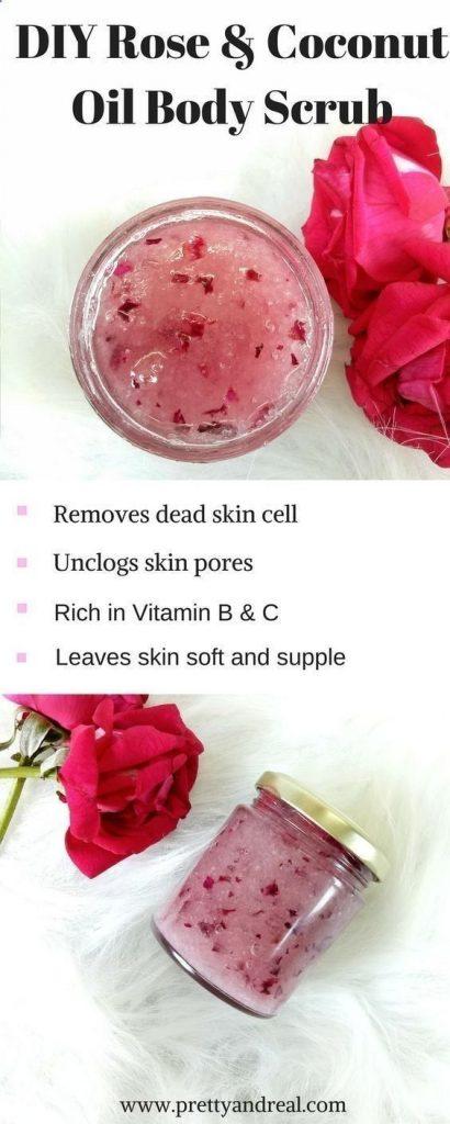 rose and coconut oil body scrub