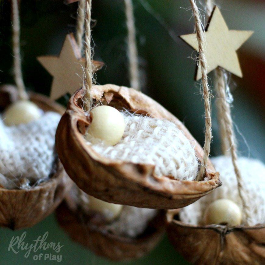 ultimate christmas decoration walnut shell manger ornament momooze.com online magazine for modern moms