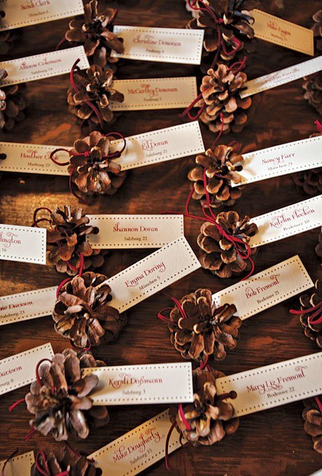 ultimate winter wedding inspiration miniature pinecones escort cards momooze.com online magazine for moms