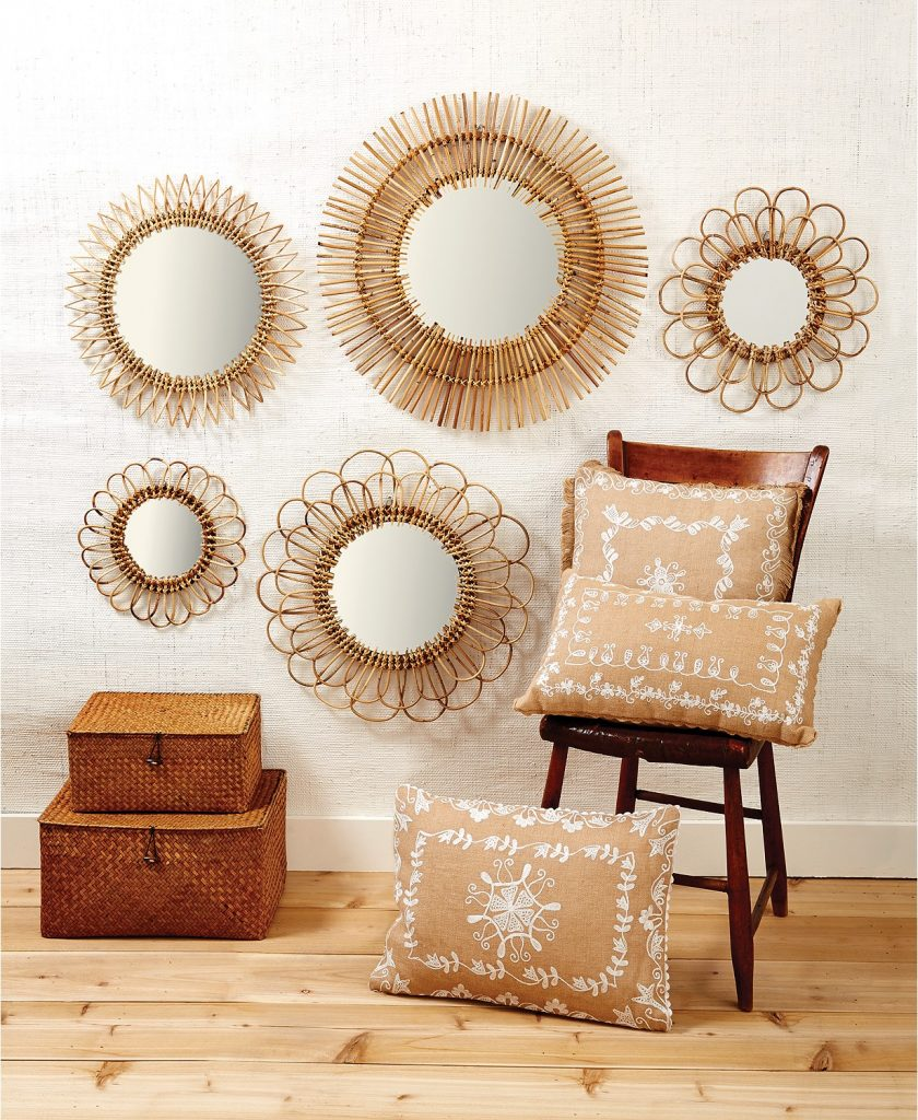 Two Company Handcrafted Natural Rattan Wall Mirrors, Set of 5