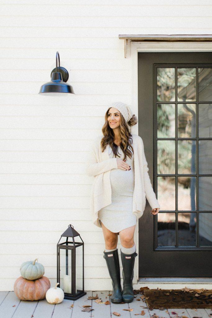 winter maternity outfits dress cardigan fashion momooze.com online magazine for moms
